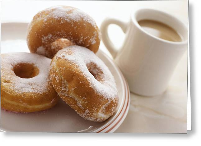 Coffee And Doughnuts Greeting Card by Erika Craddock