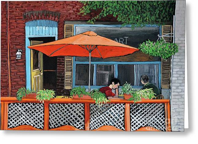 Coffee At Nu Art Cafe Verdun Greeting Card by Reb Frost
