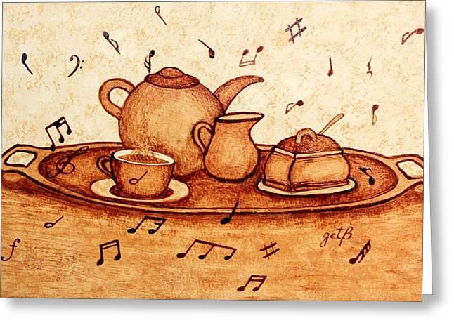 Coffee Break 2 Coffee Painting Greeting Card by Georgeta  Blanaru