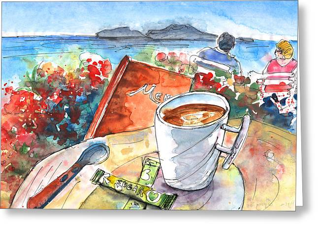 Coffee Break In Agia Georgios In Crete Greeting Card by Miki De Goodaboom