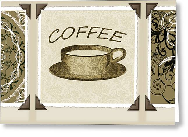 Coffee Flowers 1 Olive Scrapbook Triptych Greeting Card