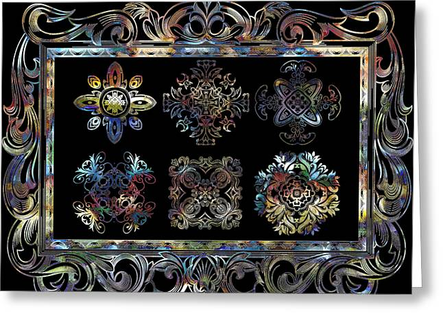 Coffee Flowers Ornate Medallions 6 Piece Collage Aurora Borealis Greeting Card by Angelina Vick