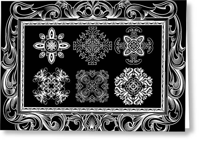 Coffee Flowers Ornate Medallions Bw 6 Piece Collage Framed  Greeting Card