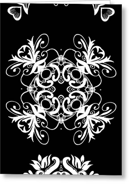 Coffee Flowers Ornate Medallions Bw Vertical Tryptych 2 Greeting Card by Angelina Vick
