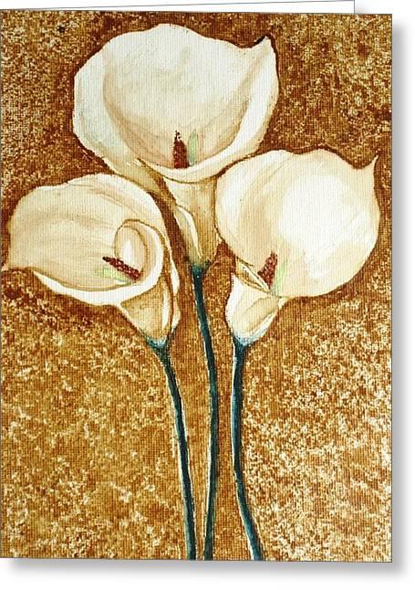 Coffee Painting - Flowers Greeting Card by Rejeena Niaz