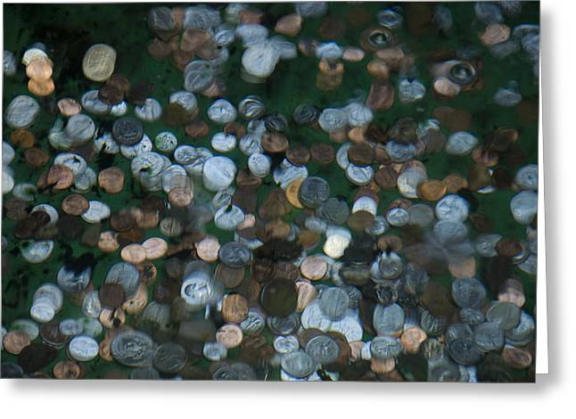 Coins At The Bottom Of A Fountain Greeting Card by Todd Gipstein