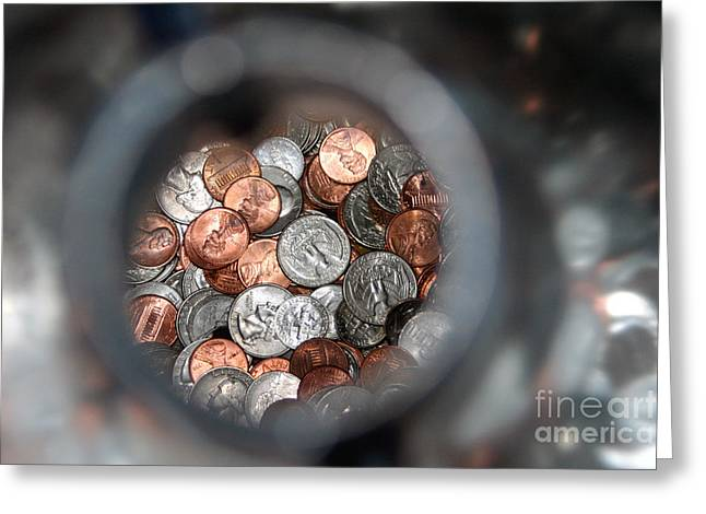 Coins In A Bottle Greeting Card