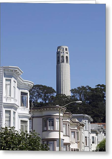 Greeting Card featuring the photograph Coit Tower by Denise Pohl