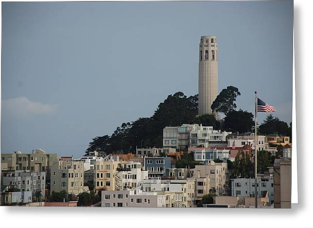 Greeting Card featuring the photograph Coit Tower by Eric Tressler