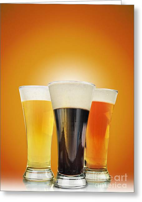 Cold Alcohol Beer Drinks On Gold Greeting Card by Angela Waye