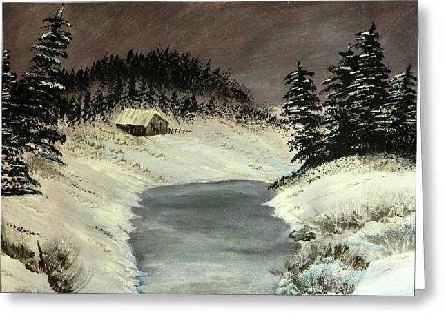 Greeting Card featuring the painting Cold Out There by Everette McMahan jr