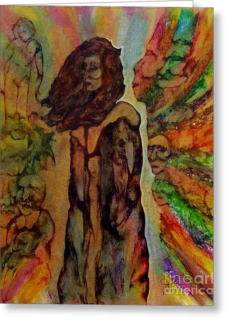 Cold Shoulder Greeting Card by Linda May Jones