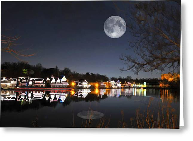 Cold Winter's Night On Boathouse Row Greeting Card by Elaine Plesser