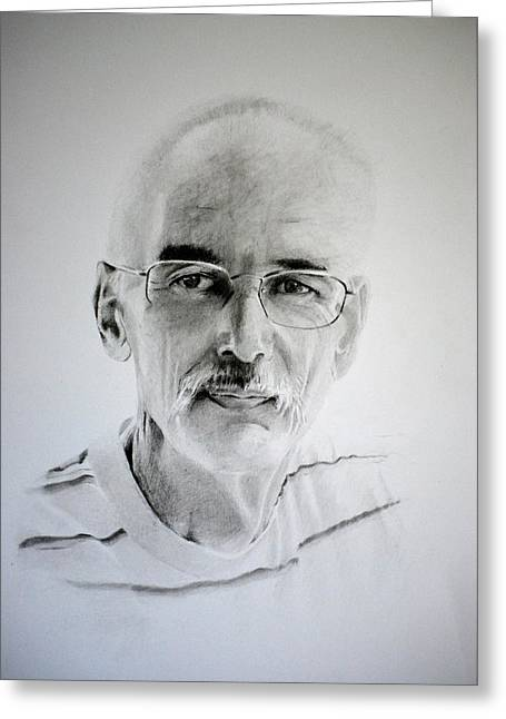 Greeting Card featuring the drawing Colin by Lynn Hughes