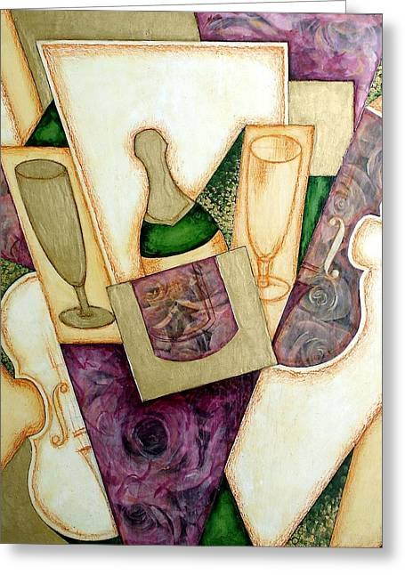Collage Champagne Greeting Card by Olga Madzhar