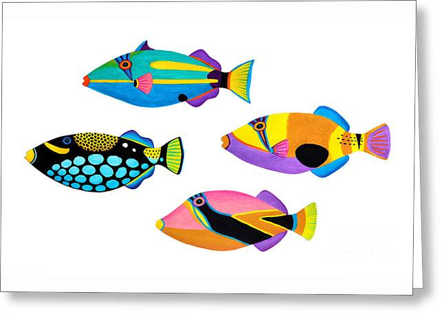 Collection Of Trigger Fishes Greeting Card by Opas Chotiphantawanon