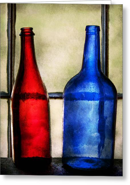 Collector - Bottles - Two Empty Wine Bottles  Greeting Card by Mike Savad