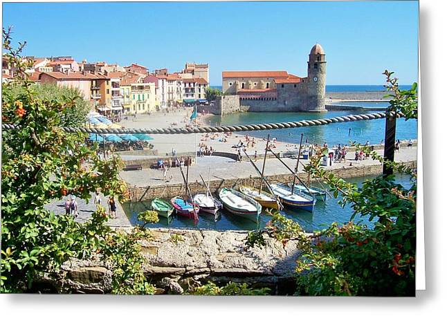 Collioure From Knights Of Templar Castle Greeting Card by Marilyn Dunlap