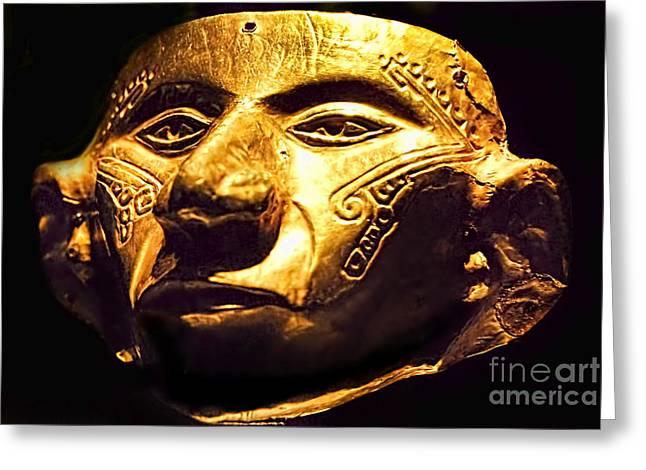 Colombian Gold Mask  Greeting Card by Alexandra Jordankova