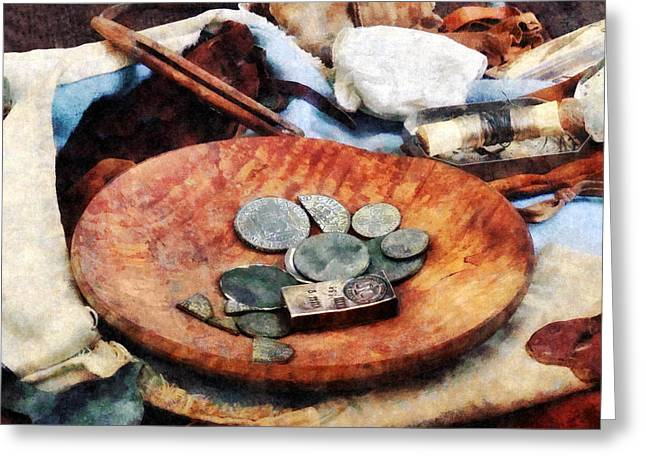 Colonial Coins Greeting Card by Susan Savad