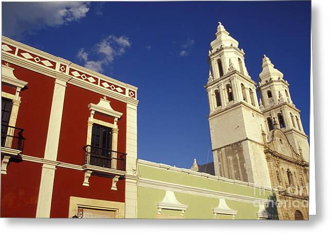 Greeting Card featuring the photograph Colonial Colors Campeche Mexico by John  Mitchell