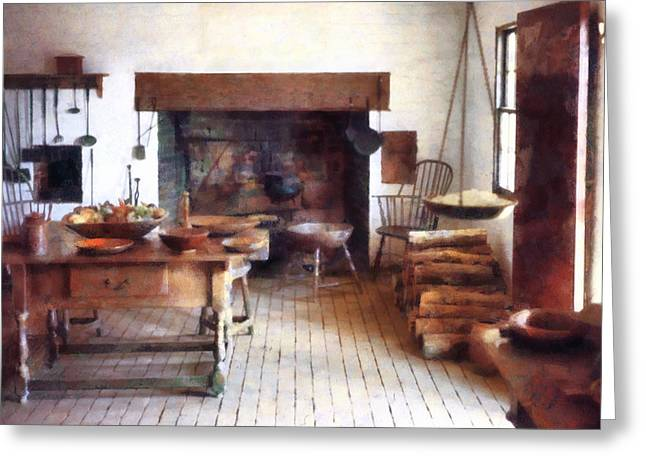 Colonial Kitchen Greeting Card by Susan Savad