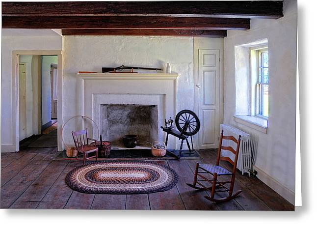 Colonial Living Room Greeting Card by Dave Mills