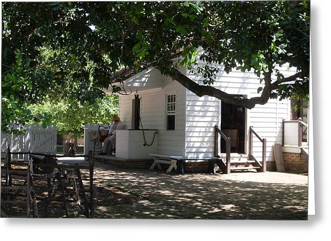 Colonial Weaver's Building Greeting Card by Lisa A Bello