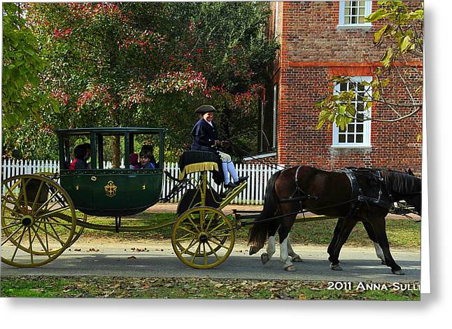 Colonial Williamsburg Carriage Greeting Card by Anna Sullivan