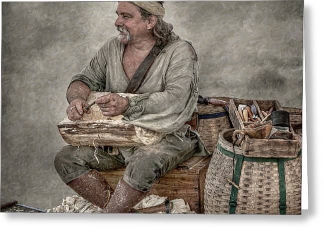 Colonial Woodcarver Portrait Greeting Card by Randy Steele
