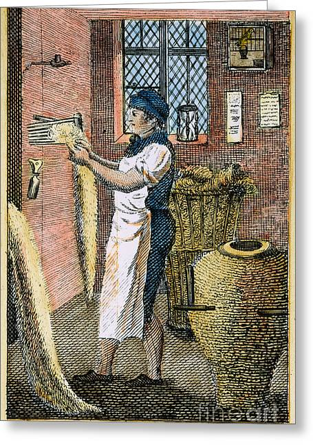 Colonial Wool Comber Greeting Card by Granger