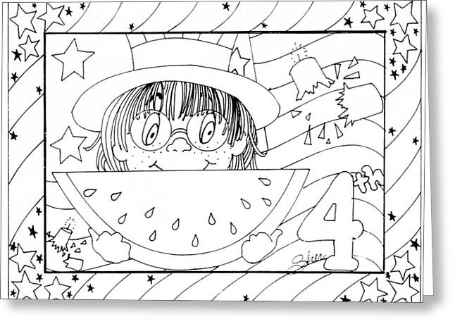 Color Me Card - 4th Of July Greeting Card