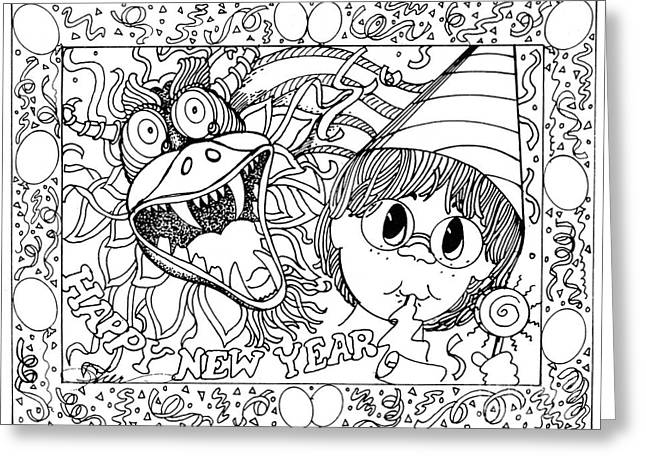 Color Me Card - New Years Greeting Card