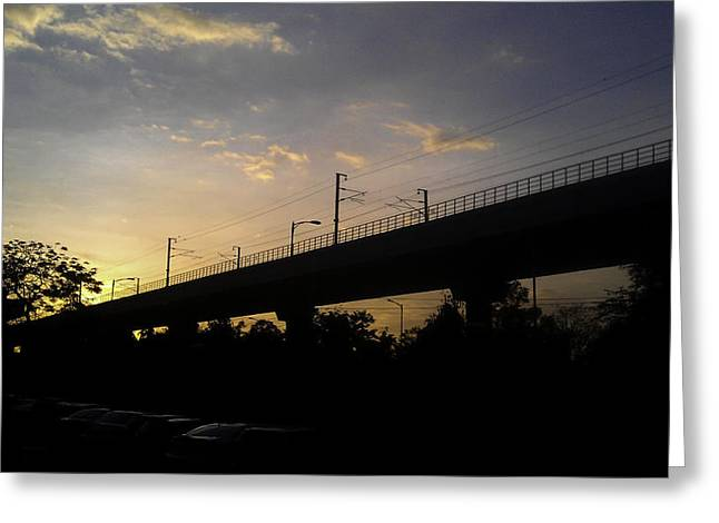 Color Of Sunset Over Metro Pillar In Delhi Greeting Card by Ashish Agarwal