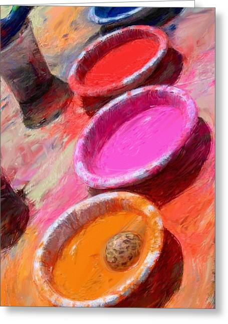 Color Paint Bowls Greeting Card