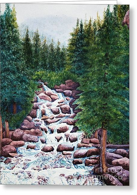 Colorado Falls Greeting Card by Vikki Wicks