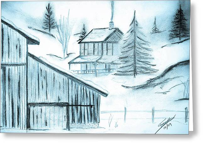Greeting Card featuring the drawing Colorado Farm by Shannon Harrington