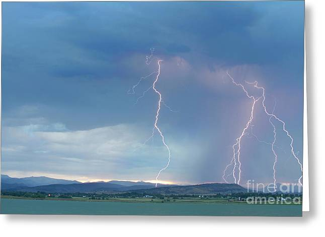 Colorado Rocky Mountains Foothills Lightning Strikes 2 Greeting Card by James BO  Insogna