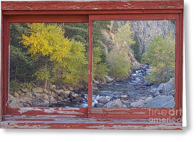 Colorado St Vrain Canyon Red Rustic Picture Window Frame Photos  Greeting Card by James BO  Insogna