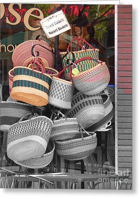 Colored Baskets Greeting Card by David Bearden