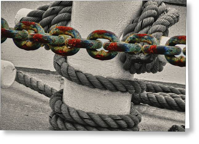 Greeting Card featuring the photograph Colored Chain by Kelly Reber