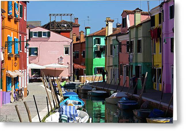 Greeting Card featuring the photograph Colored Channel by Raffaella Lunelli