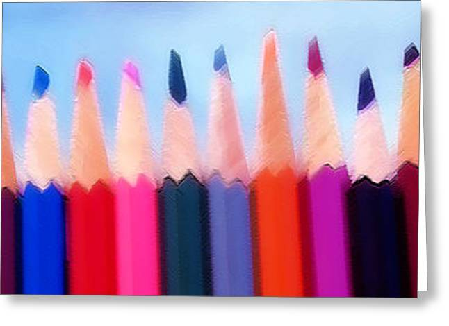 Colored Pencils - Horizontal Greeting Card by Steve Ohlsen