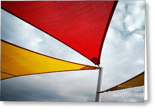 Colorful Awnings  Greeting Card by Carlos Caetano