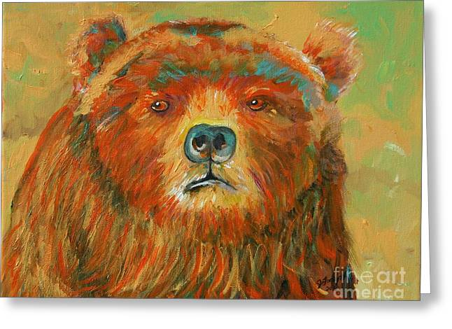 Colorful Bear Greeting Card by Jeanne Forsythe