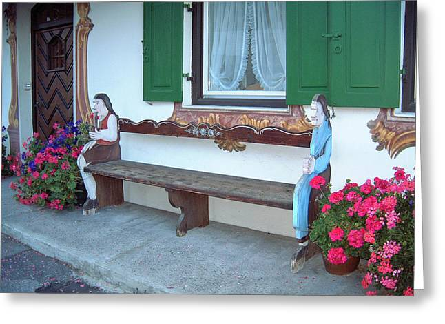 Colorful Bench Garmisch Germany Greeting Card