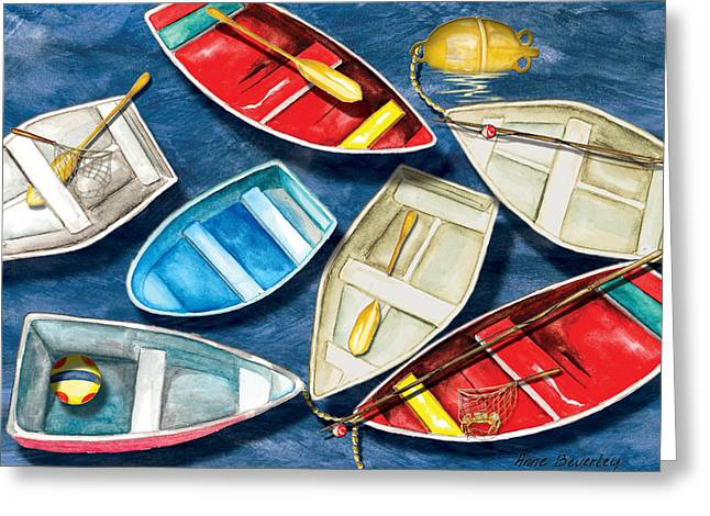 Greeting Card featuring the painting Colorful Boats by Anne Beverley-Stamps