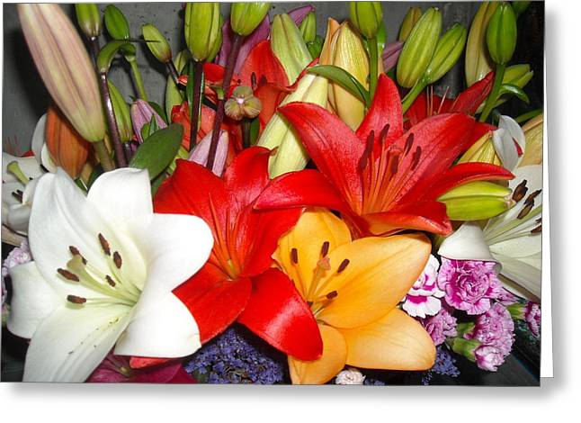 Colorful Bouquet Of Lilies - Lilium Greeting Card by Liliana Ducoure