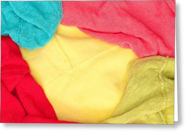 Colorful Clothes Greeting Card by Tom Gowanlock