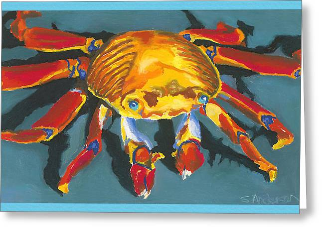 Colorful Crab With Border Greeting Card by Stephen Anderson